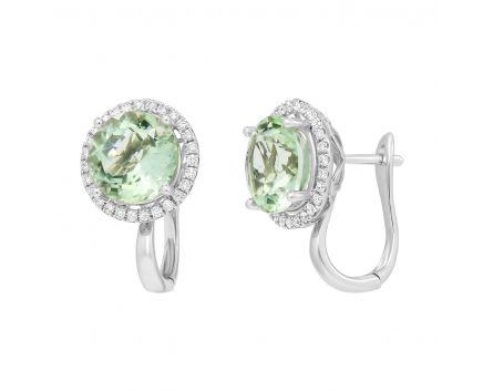 Сережки з празиолітом та діамантами по колу