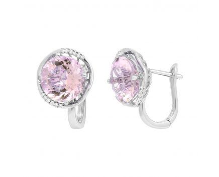 Сережки з рожевим кварцем та діамантами у білому золоті