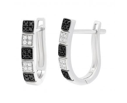 Сережки класичність з білими та чорними діамантами
