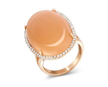 Кольцо с бриллиантами и лунным камнем