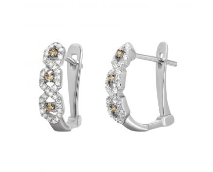 Сережки Мілена з діамантами в білому золоті
