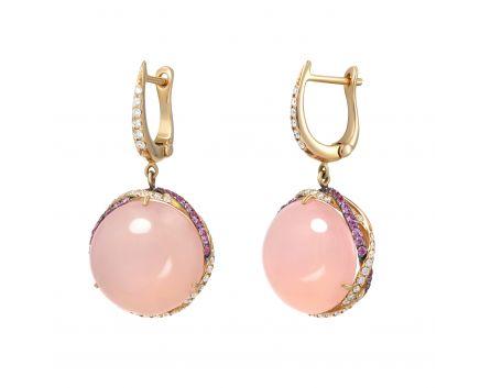 Сережки з діамантами, халцедоном та рожевими сапфірами