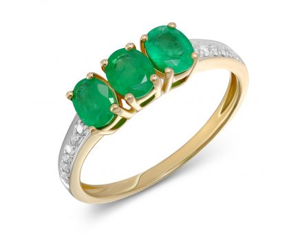 Каблучка Емма з смарагдом та діамантами в жовтому золоті