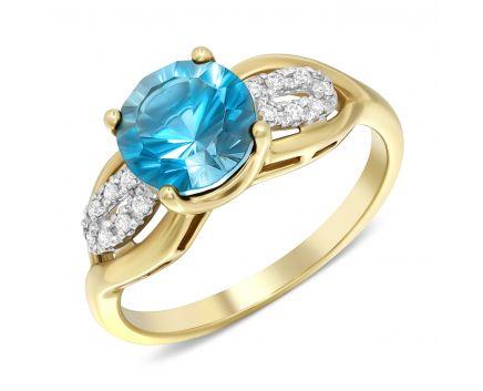 Каблучка з діамантами та блакитним топазом в жовтому золоті