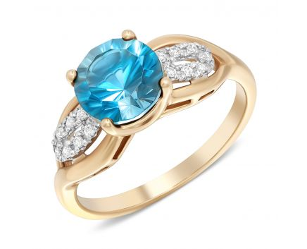 Каблучка з діамантами та блакитним топазом в рожевому золоті