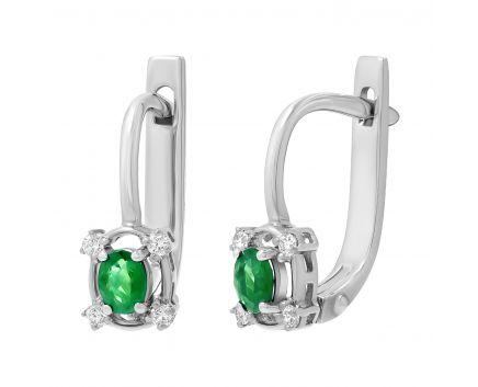 Сережки з діамантами та смарагдами