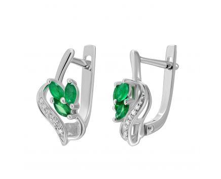 Сережки з діамантами та смарагдами Пролісок