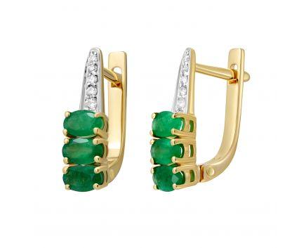 Сережки з смарагдами та діамантами Емма