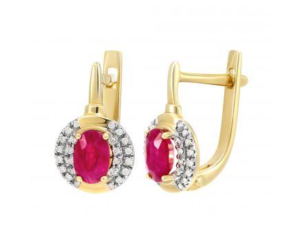 Сережки з жовтого золота з рубінами та діамантами