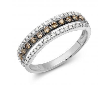 Каблучка з білого золота з коньячнми діамантами