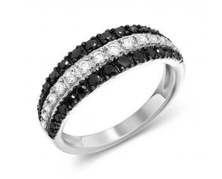 Каблучка у білому золоті з  чорними та білими діамантами