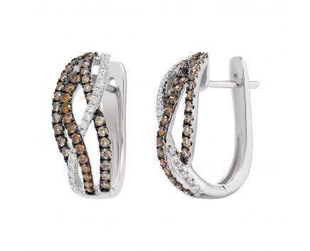 Сережки з коньячними діамантами Ізабелла