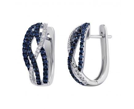 Сережки з діамантами та сапфірами у білому золоті Ізабелла