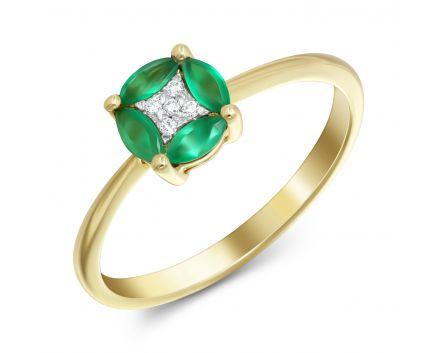 Каблучка з смарагдами та діамантами з жовтого золота