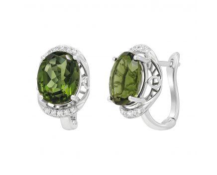 Сережки з діамантами та молдавітами