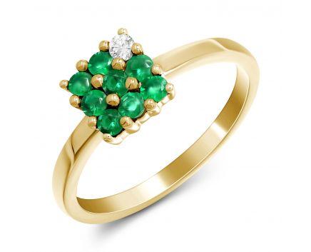 Каблучка чарівність з смарагдами та діамантом в жовтому золоті
