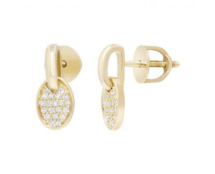 Сережки з діамантами у рожевому золоті