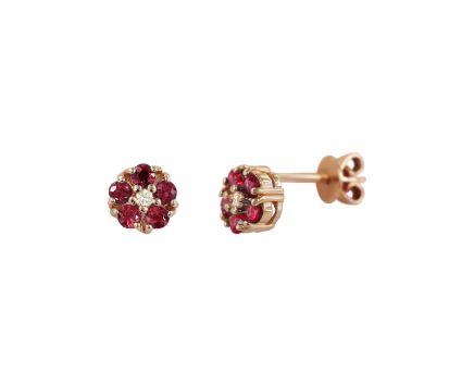 Сережки з діамантами та рубінами рожеве золото