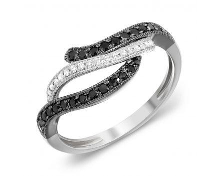 Каблучка Хвиля з чорними та білими діамантами