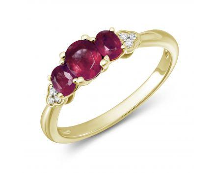 Каблучка Нонна з діамантами та рубіном в жовтому золоті