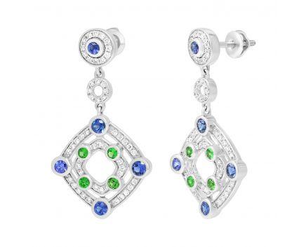 Сережки з сапфірами, цаворитами та діамантами
