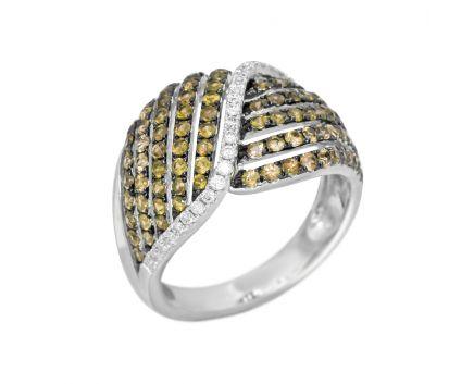 Каблучка Меланія з діамантами в білому золоті