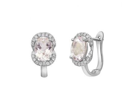 Сережки з білого золота з діамантами та морганітами