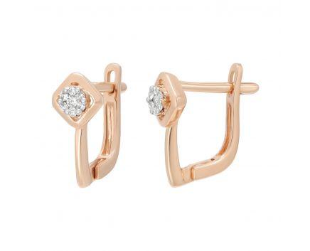 Сережки з діамантами у рожевому золоті Світлана