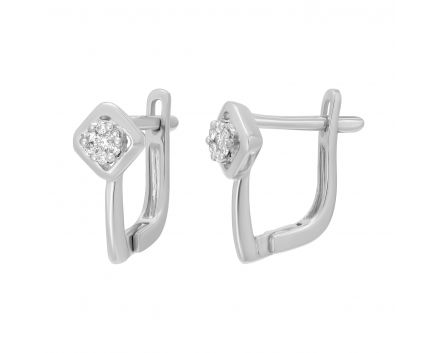 Сережки з діамантами у білому золоті Світлана