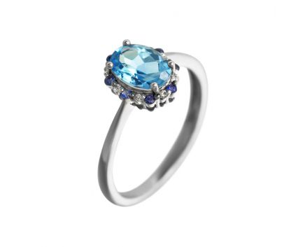Каблучка з діамантами, топазом та сапфірами