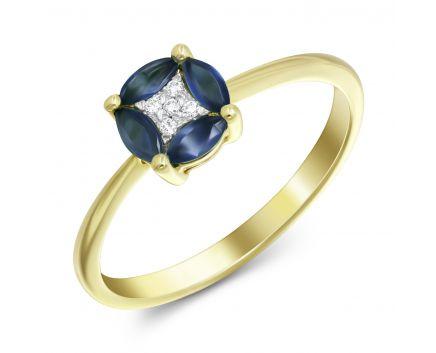 Каблучка з сапфірами та діамантами у жовтому золоті