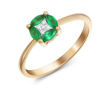 Каблучка з смарагдами та діамантами з рожевого золота