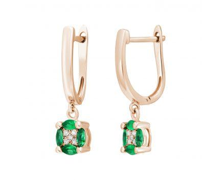 Сережки з смарагдами та діамантами Сузір'я рожеве золото