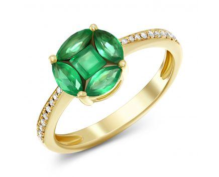 Каблучка Рузалія з діамантами та смарагдами в жовтому золоті
