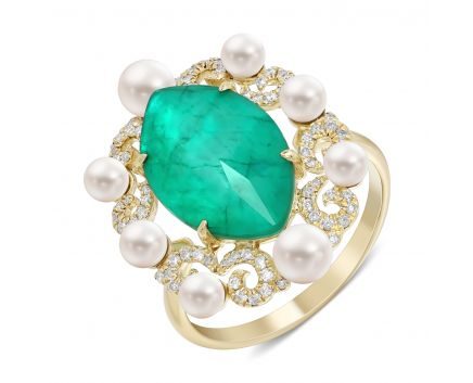 Каблучка триплет з гірским кришталем, смарагдом, перлами та діамантами