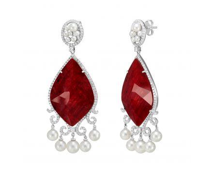 Сережки з діамантами, рубінами, перлами Кармен