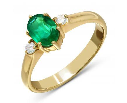 Каблучка Юнія з діамантами та смарагдом в жовтому золоті