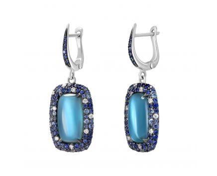 Сережки з діамантами сапфірами та топазами