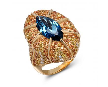 Каблучка Зореслава в рожевому золоті з діамантами, сапфірами та топазом