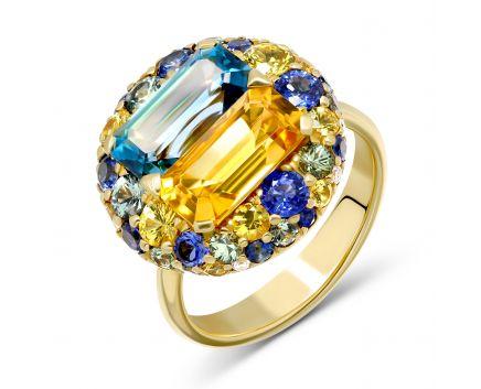 Каблучка з діамантами, сапфірами синіми та зеленими, топазами і цитринами