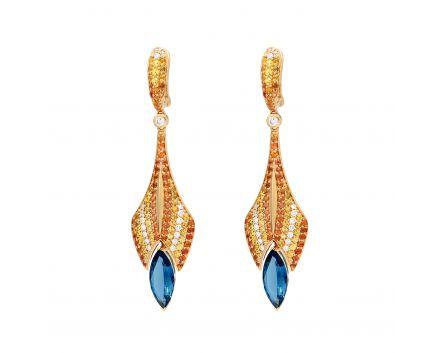 Сережки з діамантами, сапфірами і топазами
