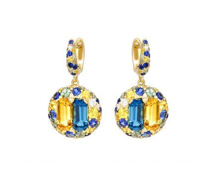 Сережки з діамантами, сапфірами синіми та зеленими, топазами і цитринами