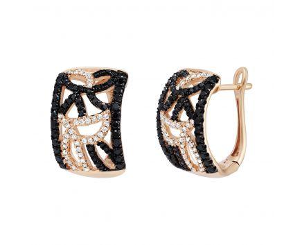 Сережки з діамантами рожеве золото
