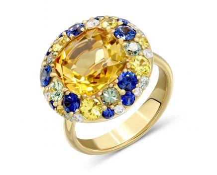 Каблучка з діамантами, сапфірами, топазами і цитрином
