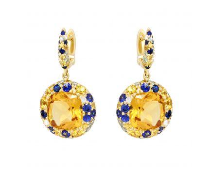 Сережки з діамантами, сапфірами синіми і зеленими, топазами та цитринами