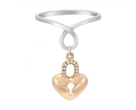 Каблучка ключик в білому та рожевому золоті з діамантами