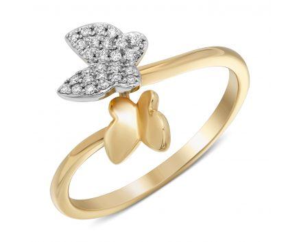 Каблучка метелики з діамантами в жовтому золоті