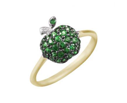 Каблучка яблучко з діамантами та цаворитами