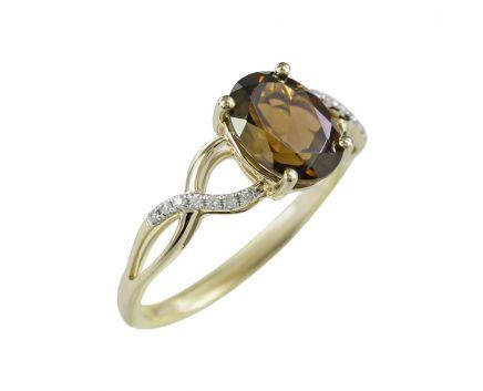 Каблучка з жовтого золота з діамантами та димчатим кварцем