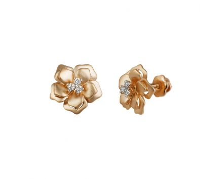 Сережки Квіточки з діамантовими тичинками